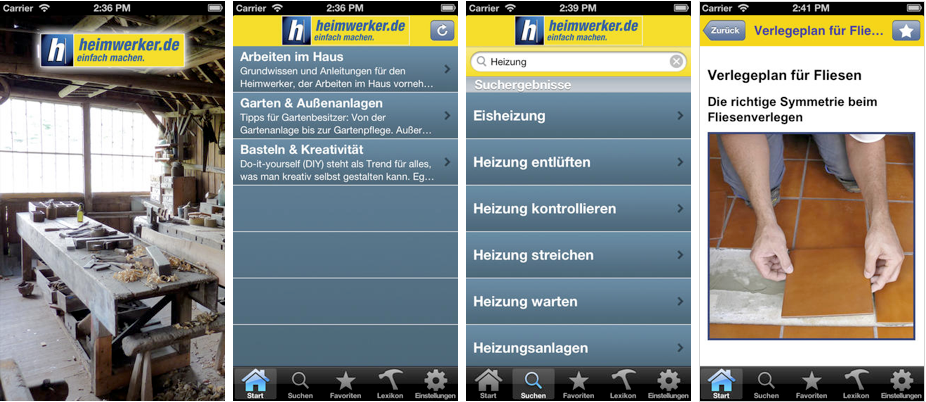 Screenshots Heimwerker.de-App iPhone